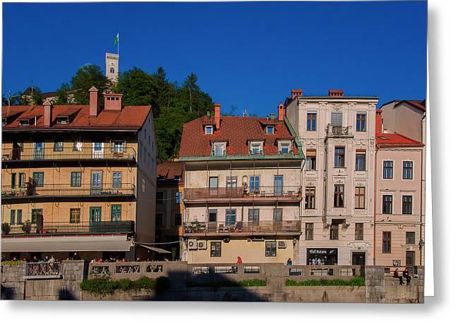 Apartments By The Ljubljanica River In Ljubljana Greeting Card by Blaz Gvajc