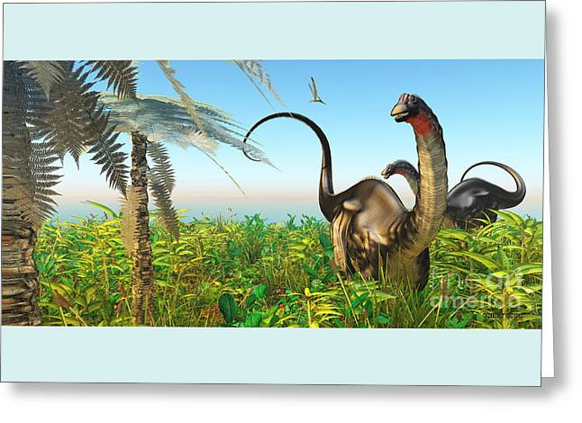 Apatosaurus Dinosaur Garden Greeting Card
