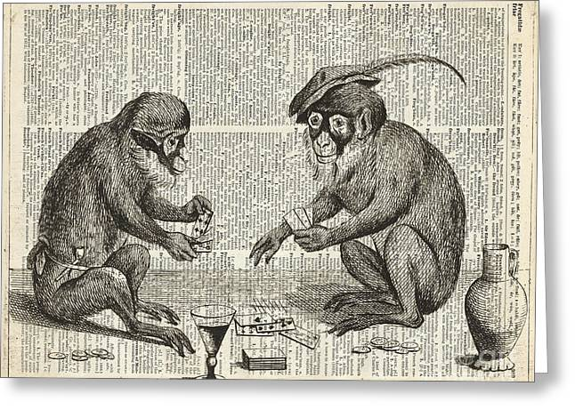 Apes Playing Cards Illustration Over Old Book Page Greeting Card