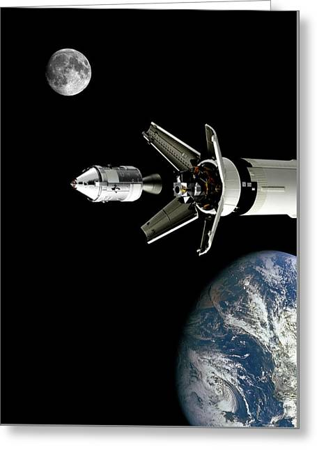 Apollo 11 - Transposition And Docking Greeting Card by Smart Aviation Art