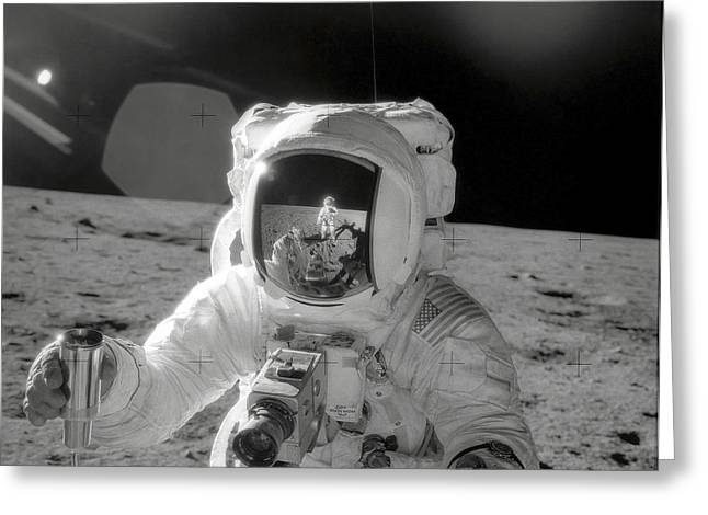 Experiment Greeting Cards - Apollo 12 Moonwalk Greeting Card by Stocktrek Images