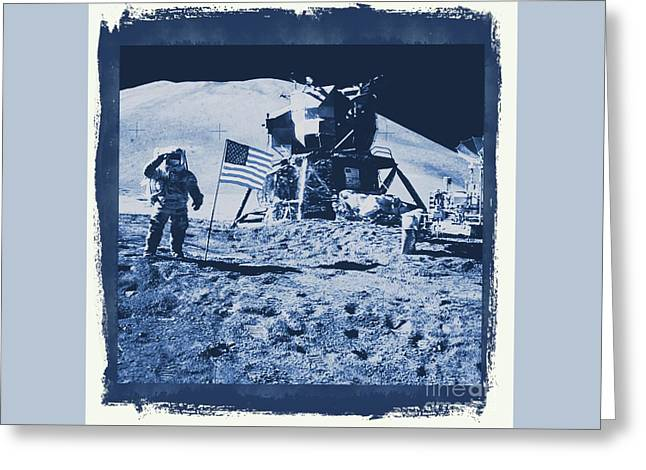 Apollo 15 Mission To The Moon - Nasa Greeting Card by Raphael Terra