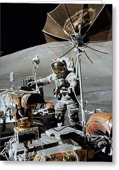 Lunar Surface Greeting Cards - Apollo 17 Astronaut Approaches Greeting Card by Stocktrek Images