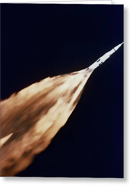 Spaceport Greeting Cards - Apollo 6 Spacecraft Leaves A Fiery Greeting Card by Stocktrek Images