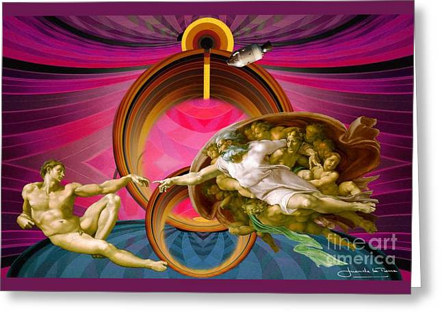 Apollo 8 And The Creation Of Adam In Purple Greeting Card by Art Gallery
