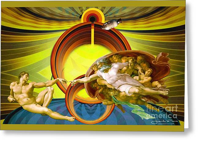 Apollo 8 And The Creation Of Adam In Yellow Greeting Card by Art Gallery
