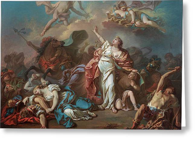 Apollo And Diana Attacking The Children Of Niobe Greeting Card by Jacques-Louis David