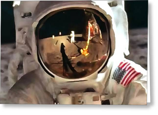 Apollo Moon Mission In Thick Paint 1 Greeting Card by Catherine Lott