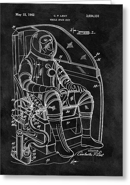Apollo Space Suit Patent Greeting Card by Dan Sproul