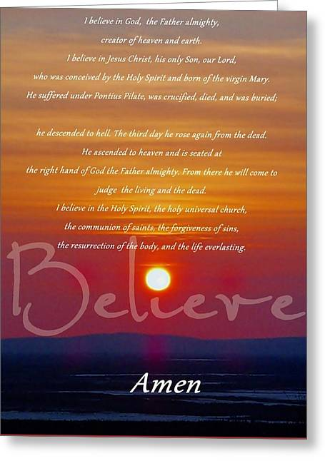 Apostles Creed Greeting Card by Elizabeth Mix