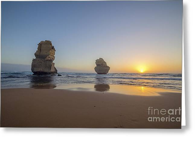 Apostles Sunset Greeting Card by Ray Warren