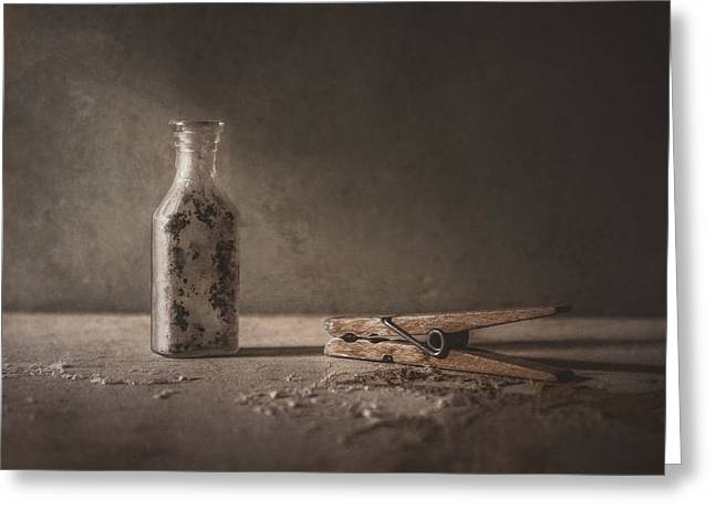 Apothecary Bottle And Clothes Pin Greeting Card by Scott Norris