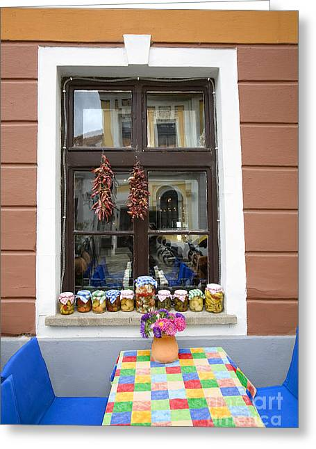 Apothecary Jars On Windowsill  Greeting Card by Madeline Ellis