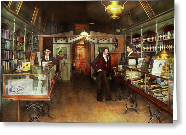 Apothecary - Spell Books And Potions 1913 Greeting Card by Mike Savad