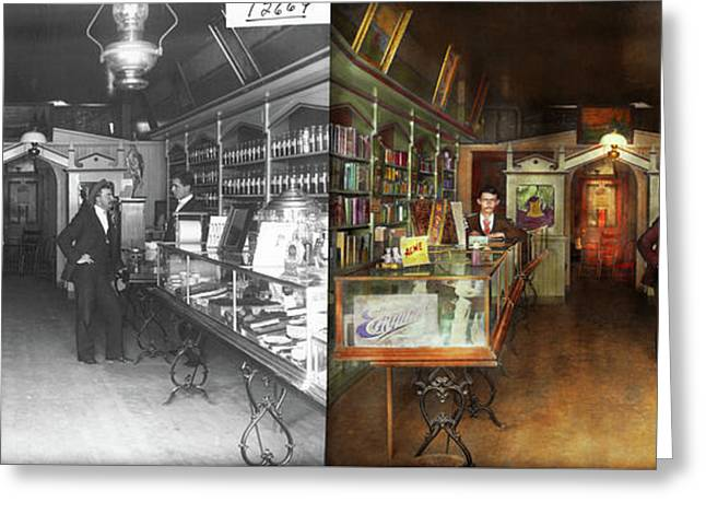 Apothecary - Spell Books And Potions 1913 - Side By Side Greeting Card by Mike Savad