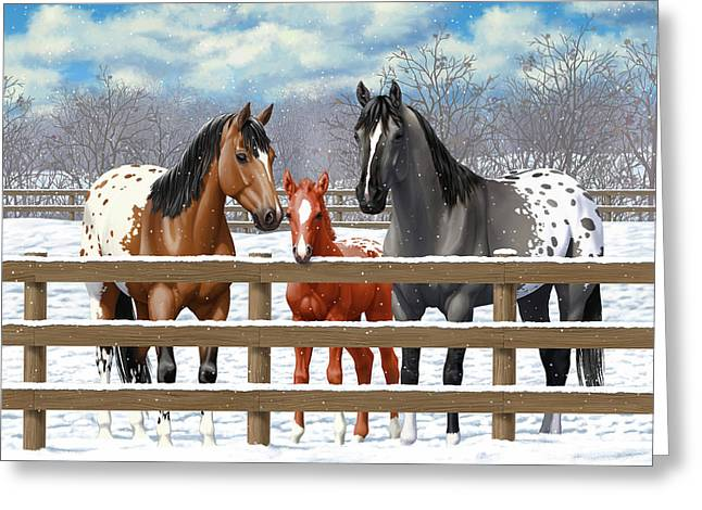 Greeting Card featuring the painting Appaloosa Horses In Winter Ranch Corral by Crista Forest