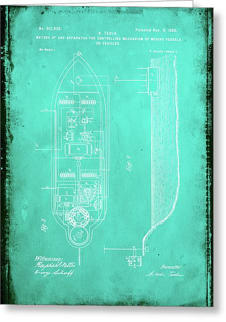 Apparatus For Controlling Moving Vessels Patent Drawing 2e Greeting Card