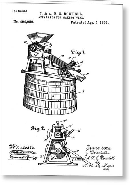 Apparatus For Making Wine Patent 1893 Greeting Card