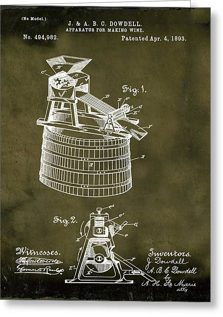 Apparatus For Making Wine Patent 1893 Grunge Greeting Card