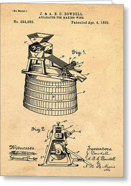 Apparatus For Making Wine Patent 1893 Sepia Greeting Card