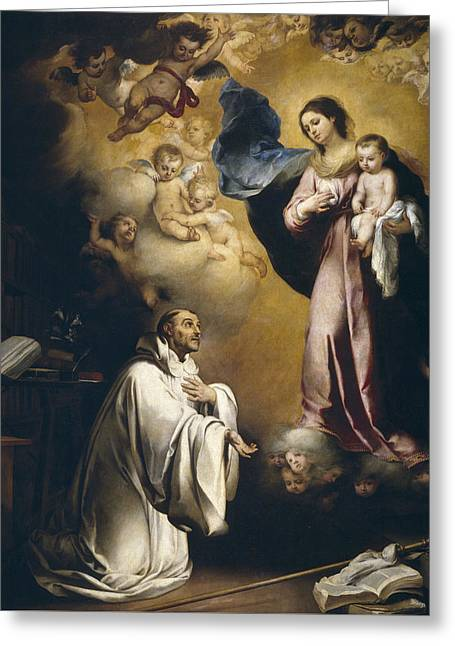 Apparition Of The Virgin To Saint Bernardo  Greeting Card by Bartolome Esteban Murillo
