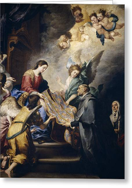 Apparition Of The Virgin To Saint Ildefonso  Greeting Card