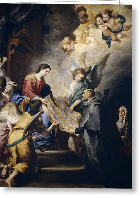 Apparition Of The Virgin To Saint Ildefonso  Greeting Card by Bartolome Esteban Murillo