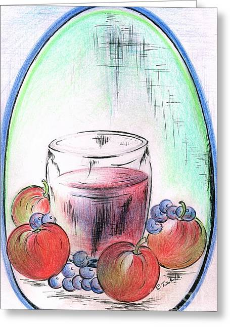Apple And Blueberry Drink Greeting Card