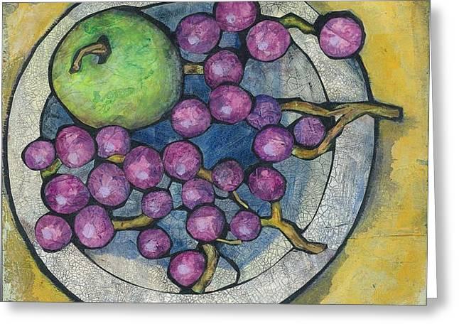Apple And Grapes Greeting Card by Barbara Nye
