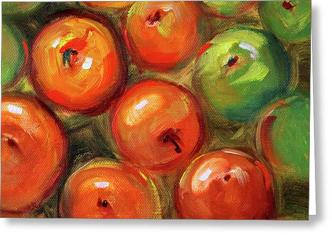 Greeting Card featuring the painting Apple Barrel Still Life by Nancy Merkle