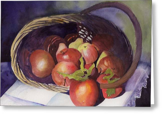 Apple Basket Greeting Card by Kathy Nesseth