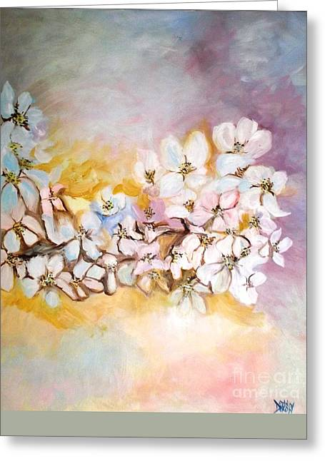 Greeting Card featuring the painting Apple Blooms by Donna Dixon