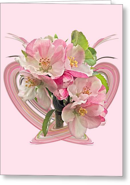 Apple Blossom Abstract Greeting Card by Gill Billington