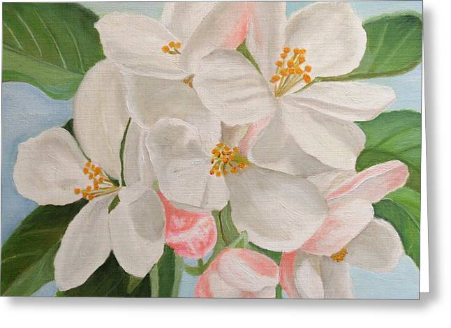 Greeting Card featuring the painting Apple Blossom by Angeles M Pomata