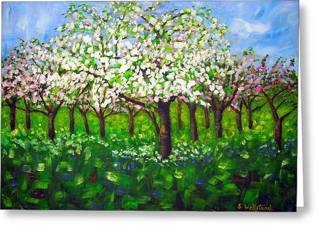 Apple Blossom Orchard Greeting Card