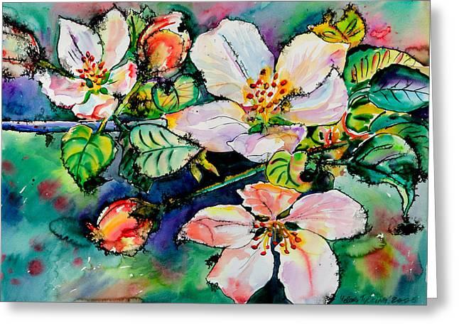 Apple Blossom Greeting Card by Yelena Tylkina
