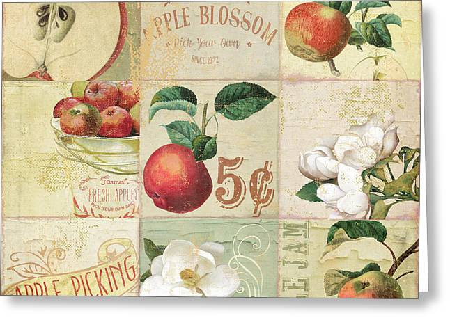Apple Blossoms Patchwork II Greeting Card by Mindy Sommers
