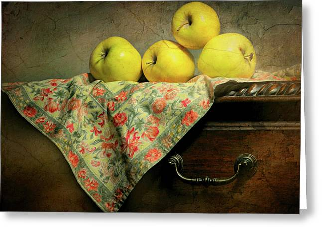 Greeting Card featuring the photograph Apple Cloth by Diana Angstadt