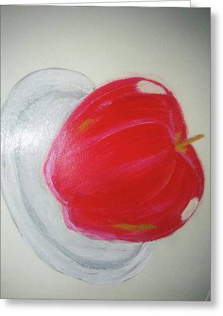 Apple In Plate Greeting Card