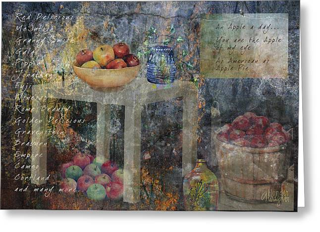 Apple Art Greeting Cards - Apple Montage Greeting Card by Arline Wagner