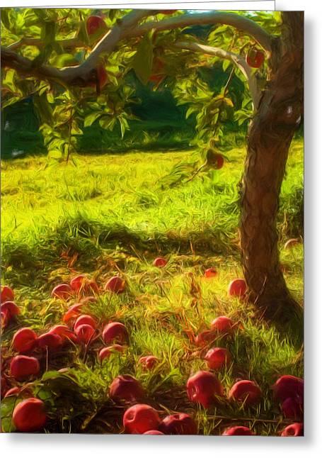 Apple Picking Greeting Card by Joann Vitali