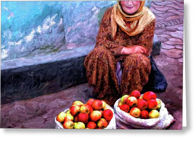 Apple Seller Greeting Card by Dominic Piperata