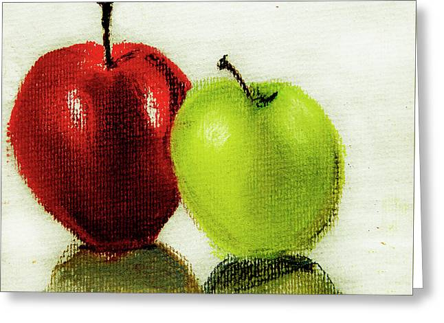 Greeting Card featuring the pastel Apple Study by Linde Townsend