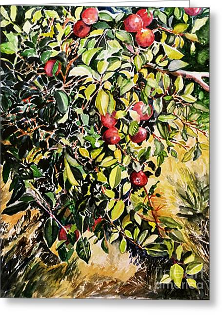 Greeting Card featuring the painting Apple Tree by Priti Lathia