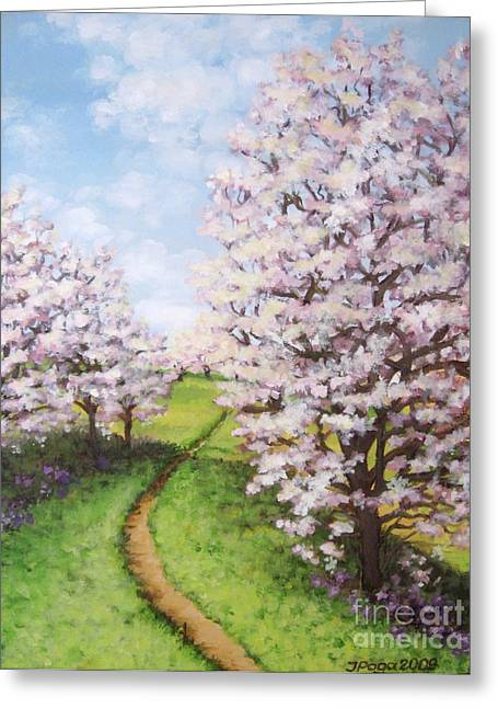 Apple Trees Along The Path Greeting Card