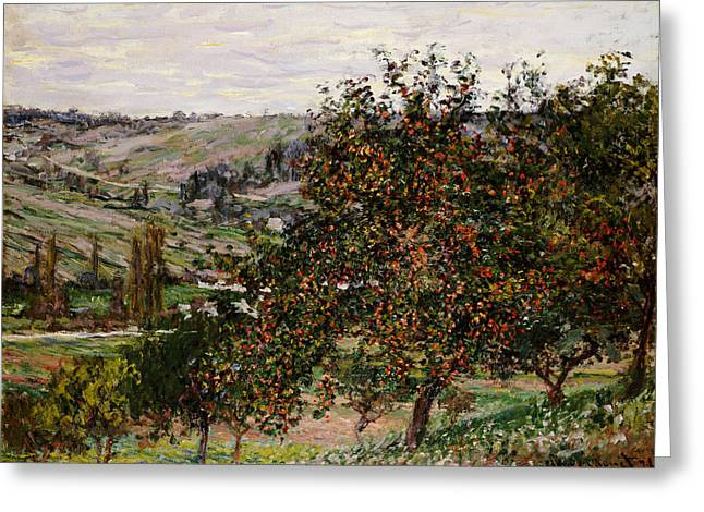 Apple Trees Near Vetheuil Greeting Card by Claude Monet
