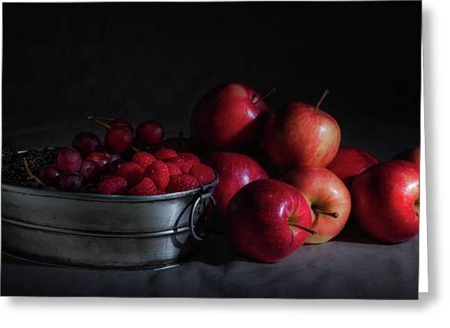 Apples And Berries Panoramic Greeting Card by Tom Mc Nemar