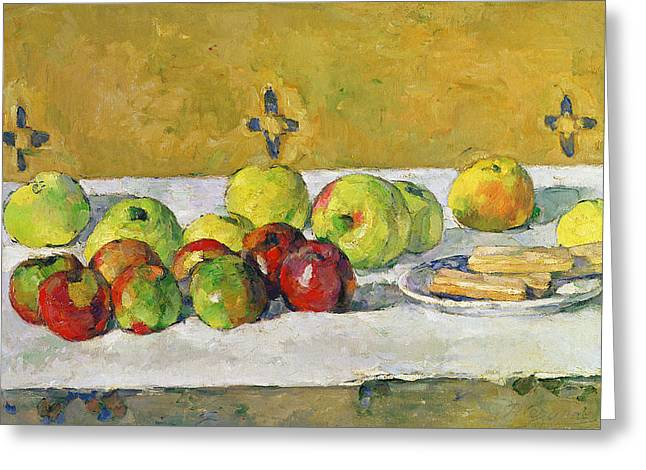 Table-cloth Greeting Cards - Apples and Biscuits Greeting Card by Paul Cezanne