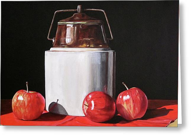 Apples And Crock Greeting Card by Lillian Bell