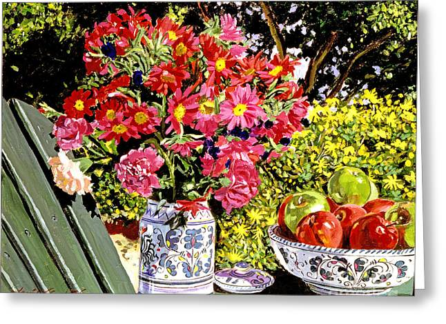 Apple Paintings Greeting Cards - Apples and Flowers Greeting Card by David Lloyd Glover
